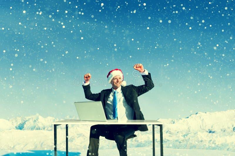 Homem de negócios Ready para o conceito alegre do Natal imagens de stock royalty free