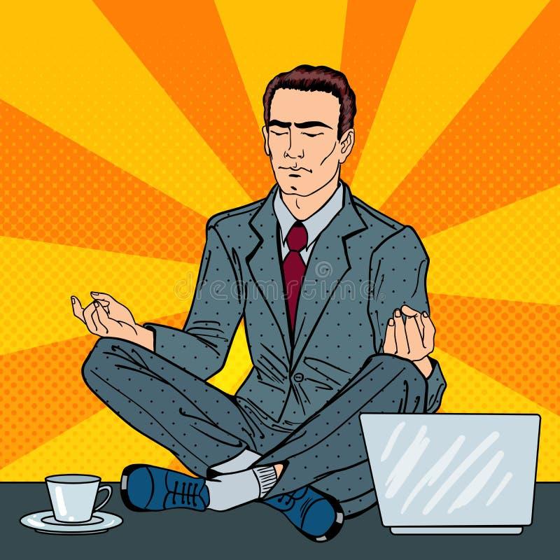 Homem de negócios Relaxing e meditar sobre a tabela do escritório com portátil Pop art ilustração do vetor