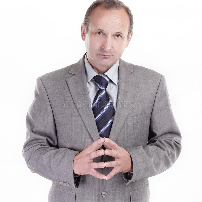 Homem de negócios responsável em um fundo branco Conceito do negócio fotos de stock royalty free