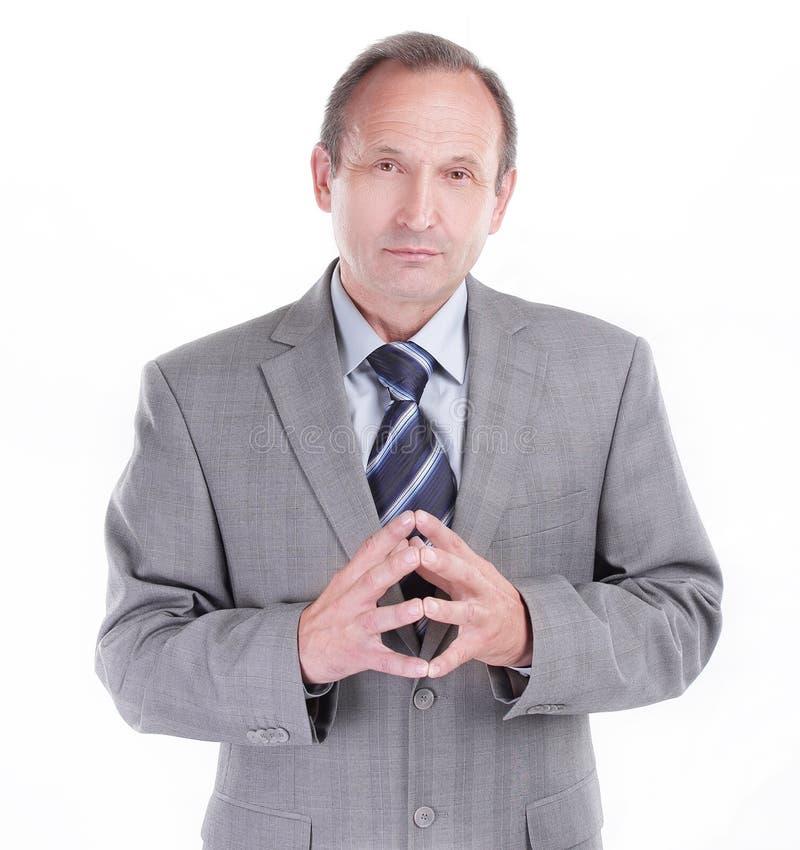 Homem de negócios responsável em um fundo branco Foto com espaço da cópia imagem de stock