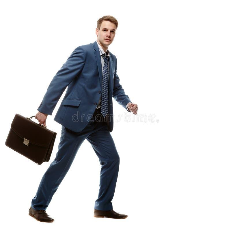 Homem de negócios Running com pasta fotos de stock royalty free