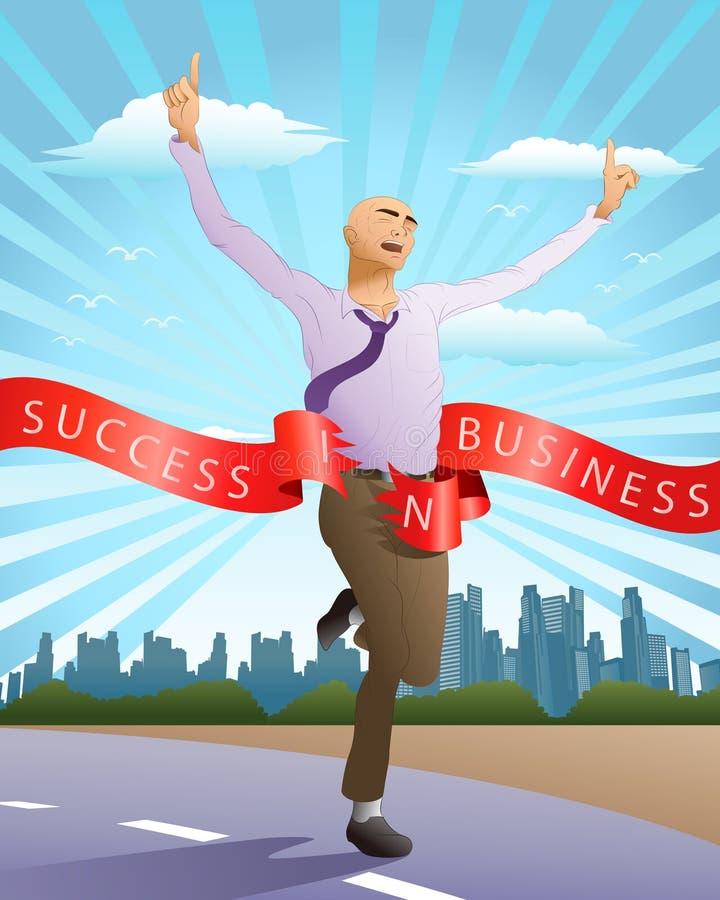 Homem de negócios running do sucesso ilustração stock