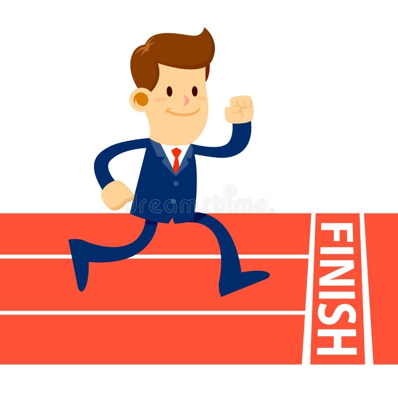 Homem de negócios Running To Finish na trilha ilustração stock