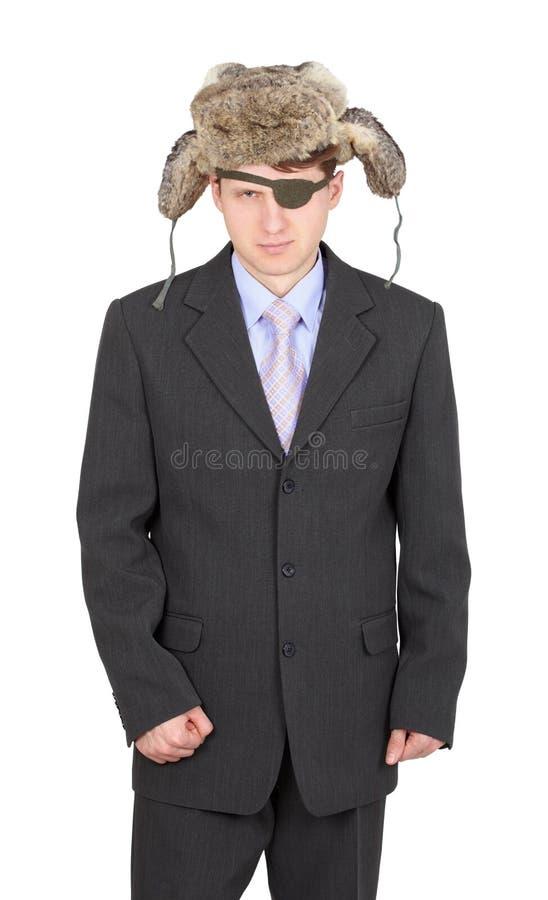 Homem de negócios russian desânimo no chapéu forrado a pele fotografia de stock