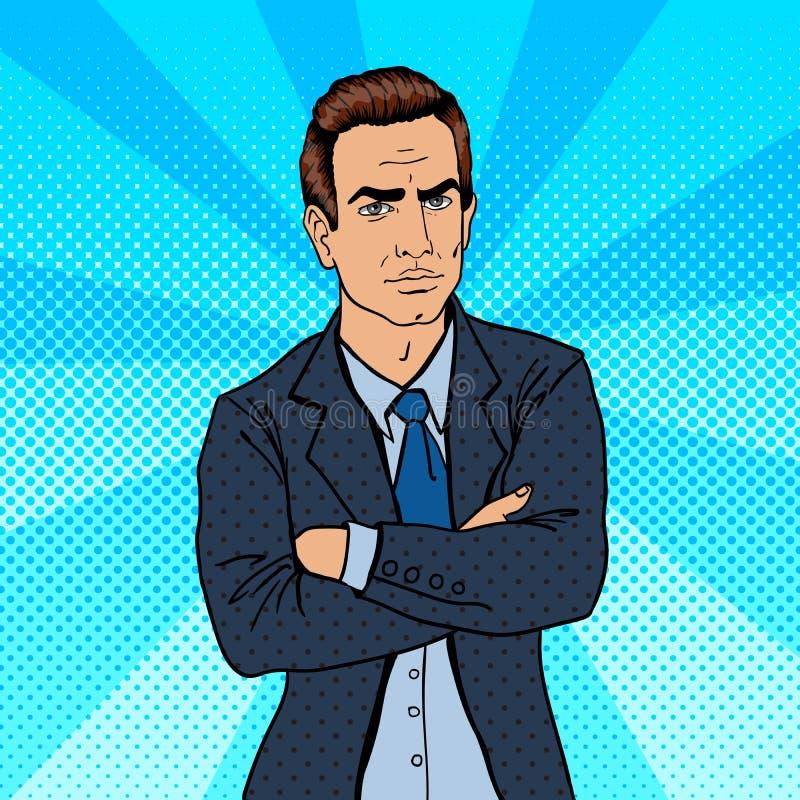 Homem de negócios sério Saliência confiável Pop art ilustração stock