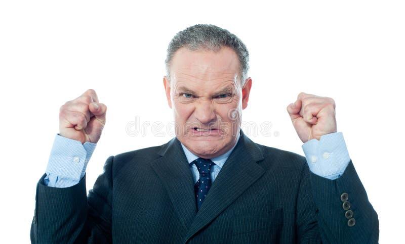 Homem de negócios sênior frustrante foto de stock royalty free