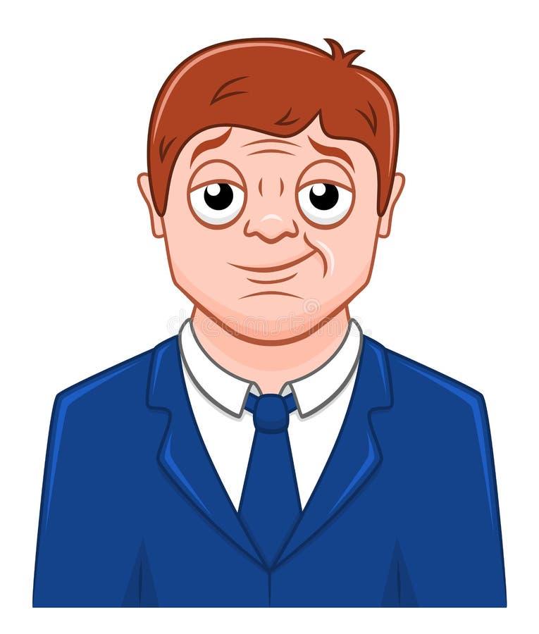 Homem de negócios satisfeito desenhos animados ilustração stock