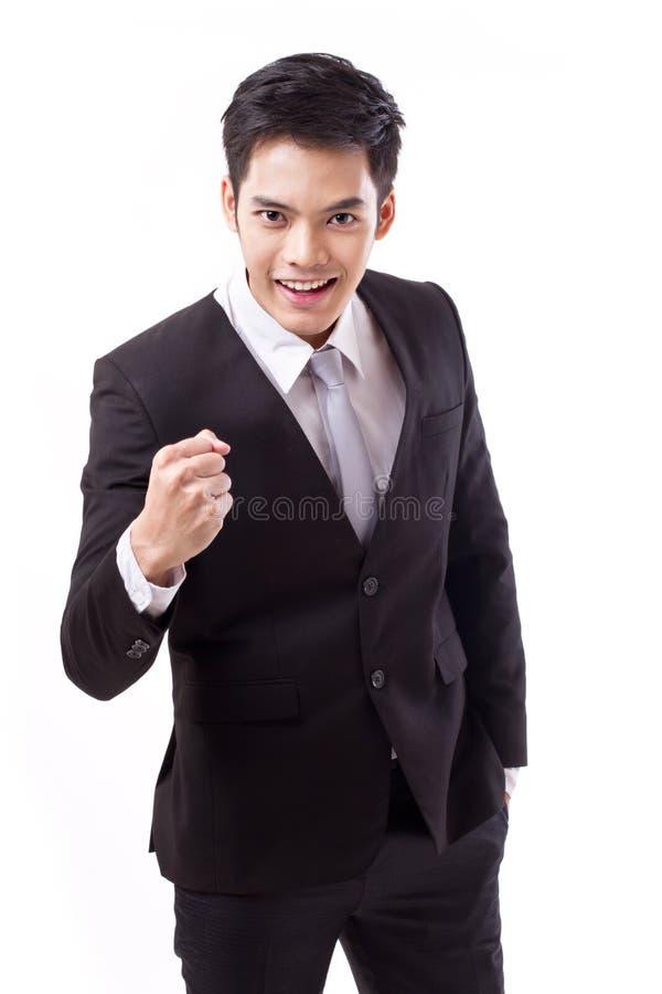 Homem de negócios seguro; estúdio modelo adulto novo asiático isolado imagem de stock royalty free