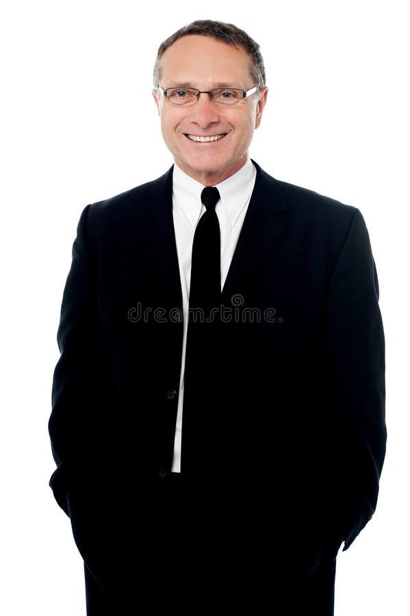 Homem de negócios seguro isolado sobre o branco imagens de stock royalty free