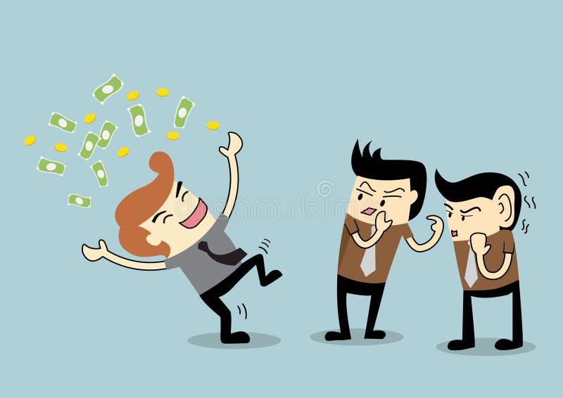 Homem de negócios a ser bisbolhetice a um empregado rico ilustração do vetor