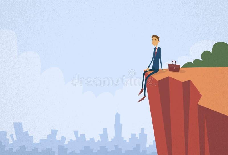 Homem de negócios Sitting Top Cliff Rock Mountain ilustração royalty free
