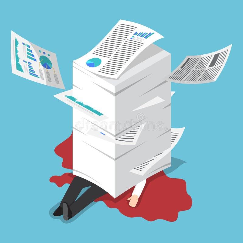 Homem de negócios sobrecarregado isométrico sob a pilha de papel ilustração royalty free
