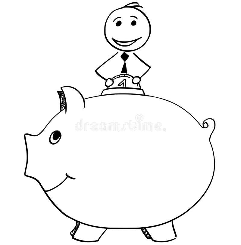 Homem de negócios de sorriso Inserting Coin dentro ao mealheiro ilustração royalty free