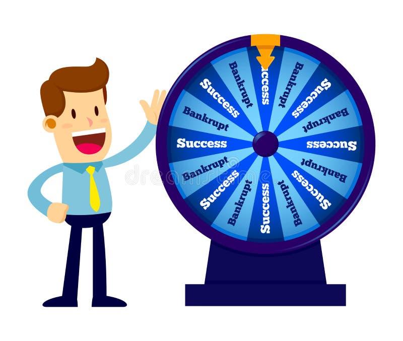 Homem de negócios Spinning Wheel da fortuna ilustração stock