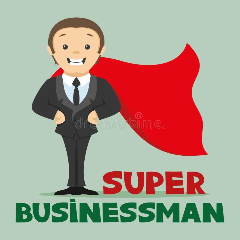Homem de negócios super em um casaco vermelho ilustração stock