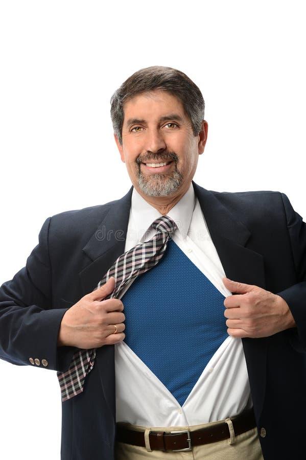 Homem de negócios super latino-americano Opening Shirt fotografia de stock royalty free