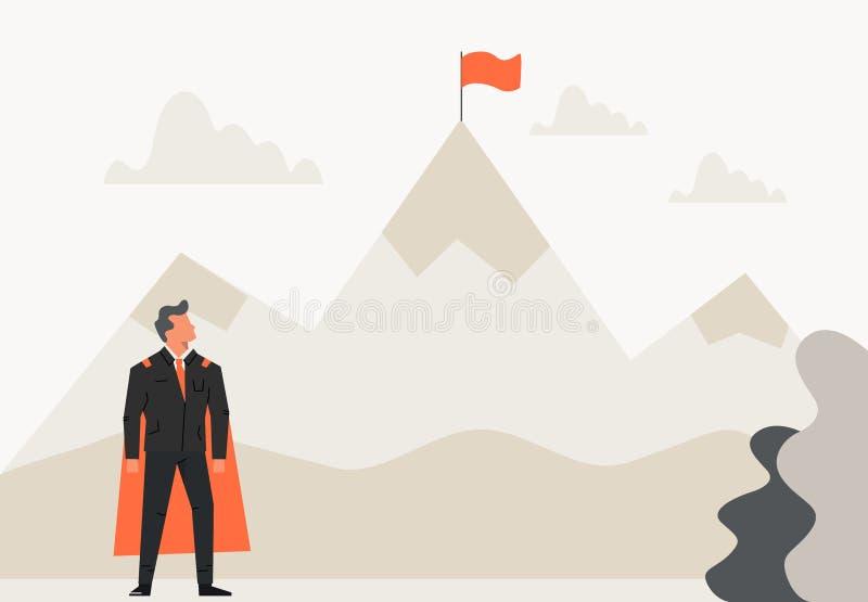 Homem de negócios super que olha uma bandeira na montanha superior Conceito do sucesso, da liderança, da realização e do objetivo ilustração royalty free