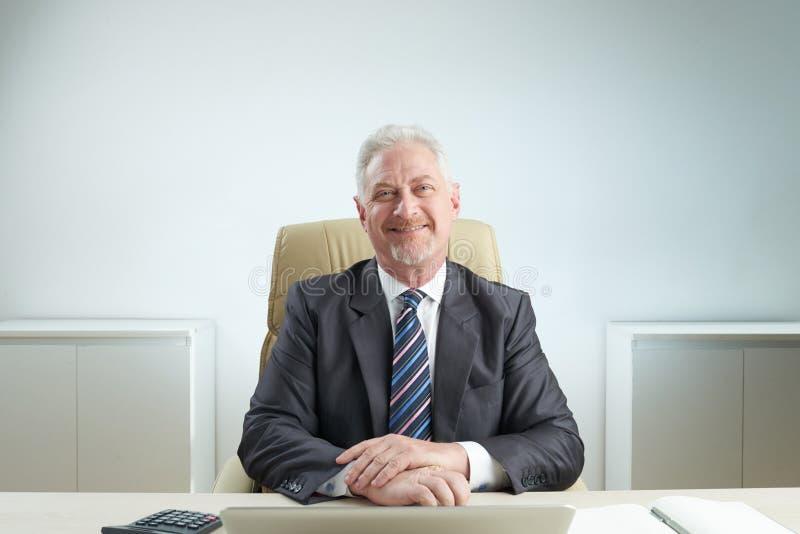 Homem de negócios superior alegre foto de stock royalty free