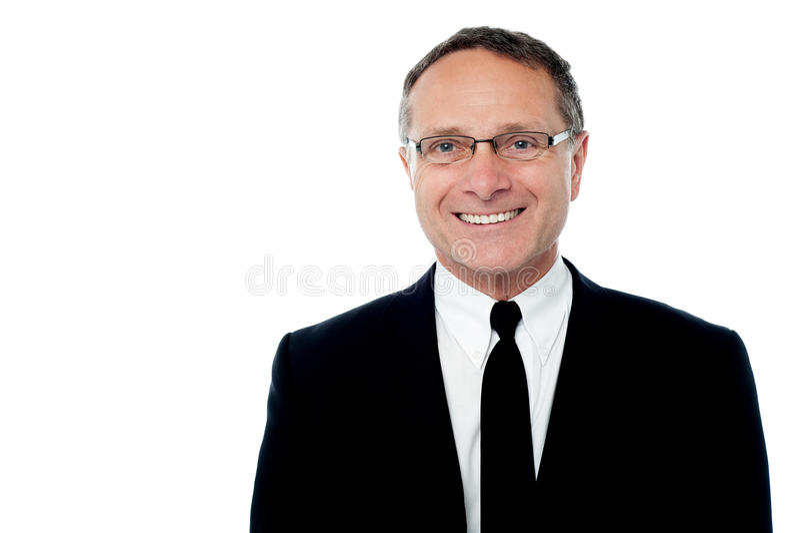 Homem de negócios superior esperto de sorriso foto de stock royalty free