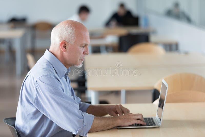 Homem de negócios superior que trabalha em um escritório de plano aberto imagem de stock