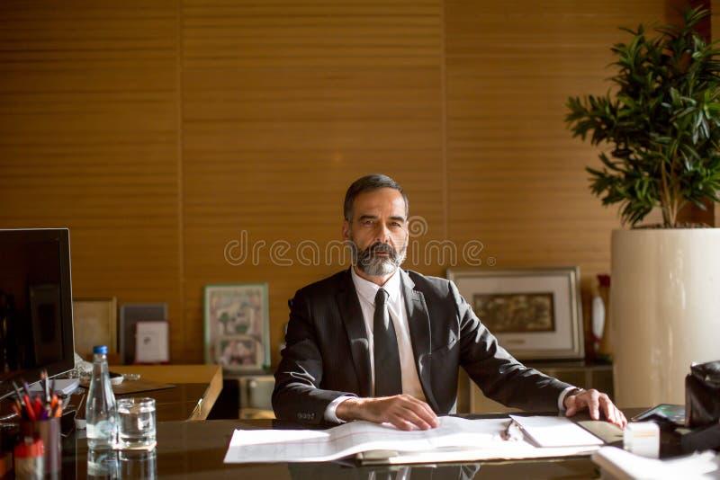 Homem de negócios superior que trabalha no portátil no escritório moderno imagens de stock