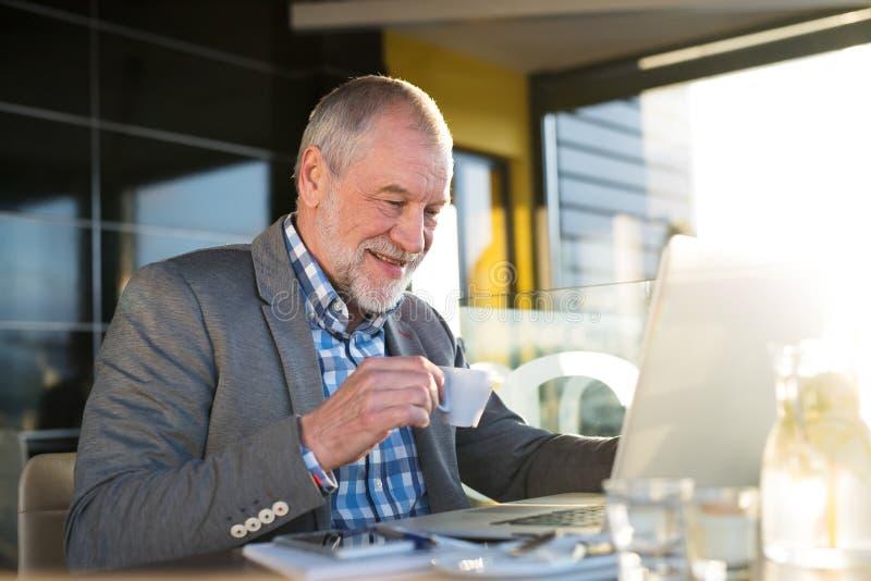 Homem de negócios superior que trabalha no portátil no café imagem de stock royalty free