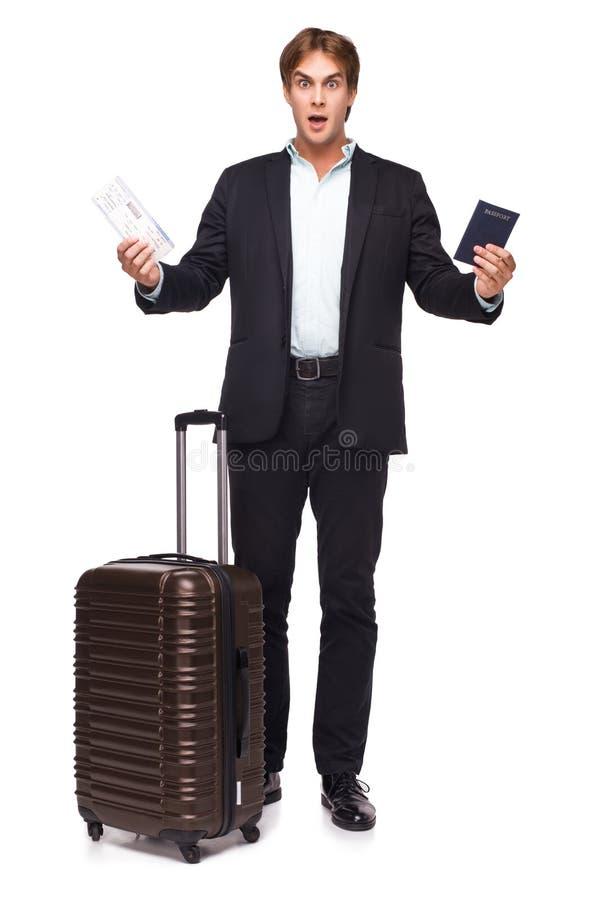 Homem de negócios surpreendido com mala de viagem fotografia de stock royalty free