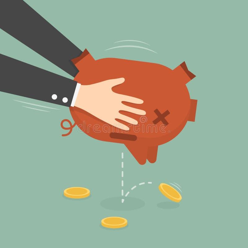 Homem de negócios Taking Money Out do mealheiro ilustração stock