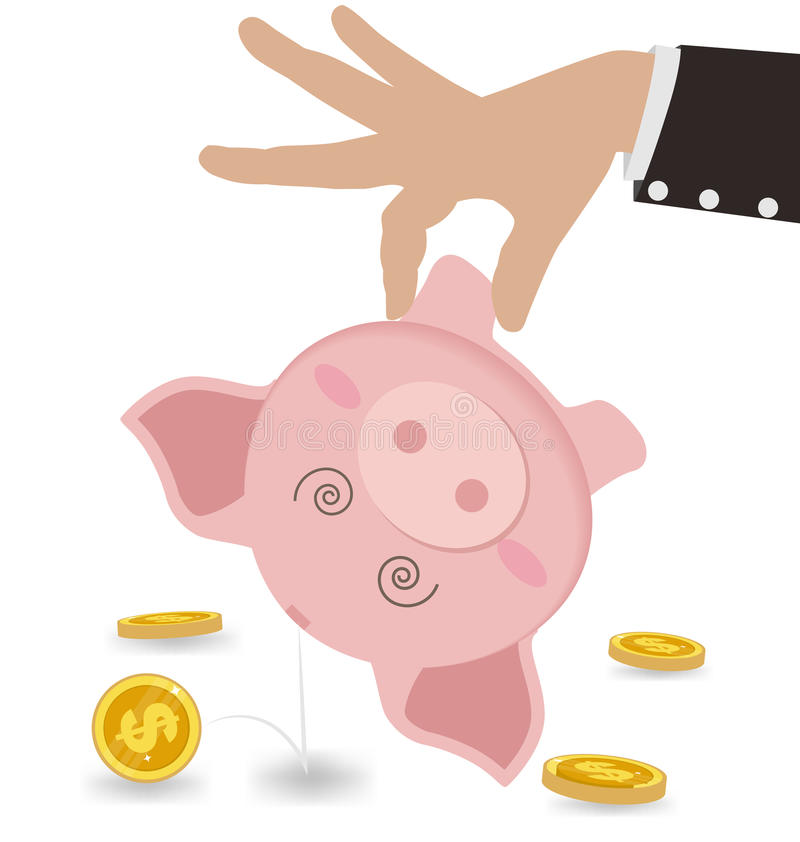 Homem de negócios Taking Money Out do mealheiro bonito Conceito do negócio ilustração stock