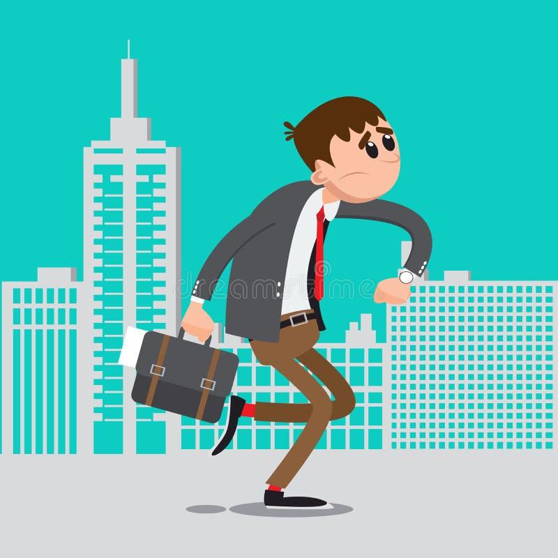 Homem de negócios tarde para o trabalho Pressa do homem a trabalhar ilustração stock