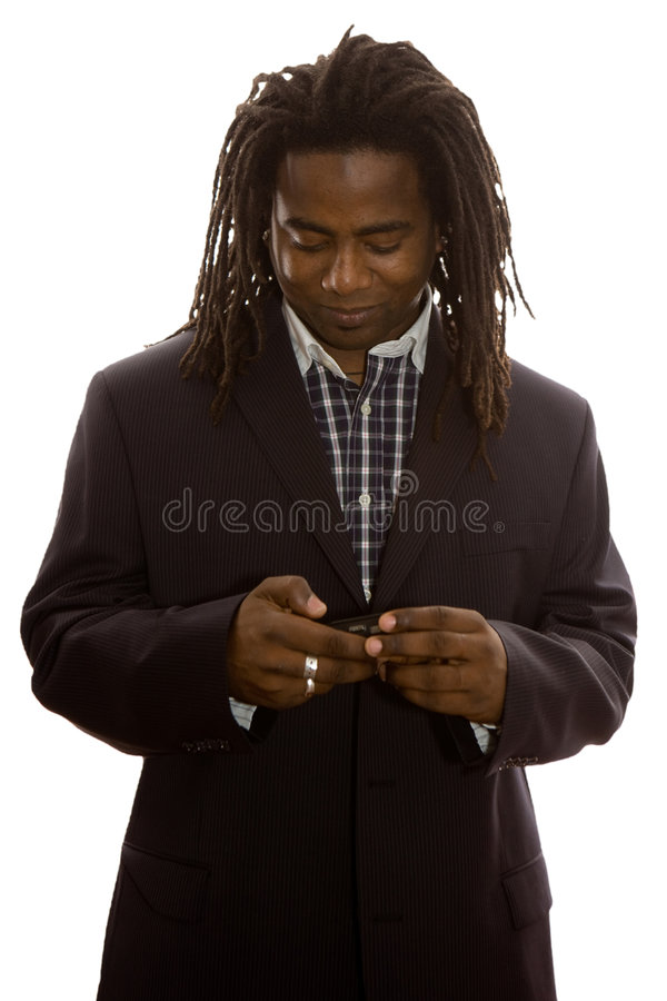 Homem de negócios Texting imagens de stock