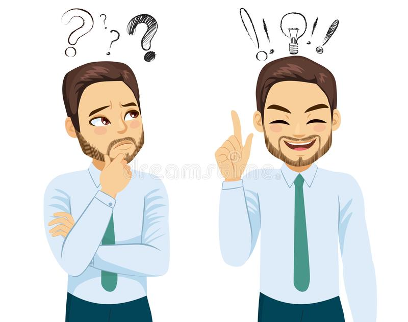 Homem de negócios Thinking Having Idea ilustração do vetor