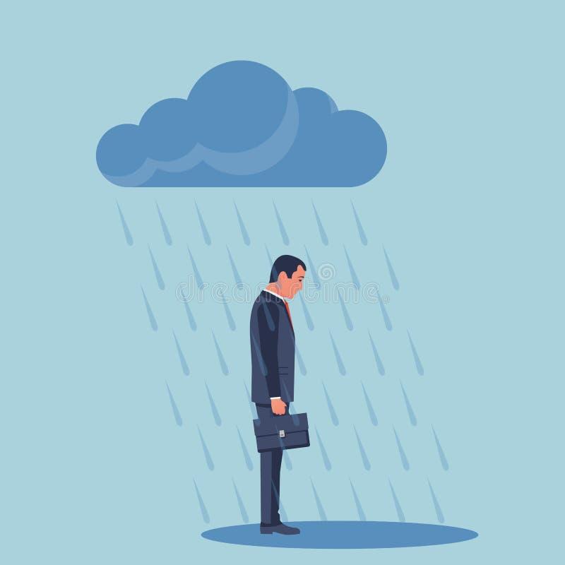 Homem de negócios triste que está na chuva ilustração royalty free