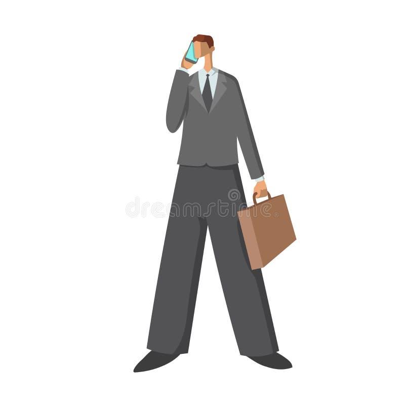 Homem de negócios Um homem em um terno de negócio com uma pasta que fala em um telefone celular Ilustração do vetor isolada no br ilustração do vetor