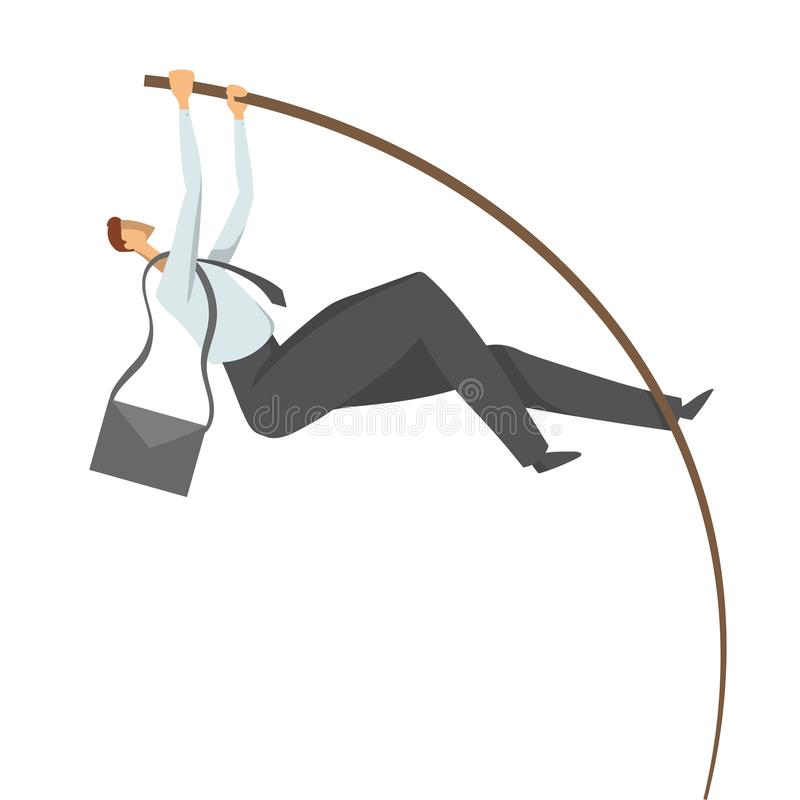 Homem de negócios, um homem em um terno de negócio que faz a abóbada de polo Salte ao sucesso, ilustração do conceito do vetor, i ilustração do vetor