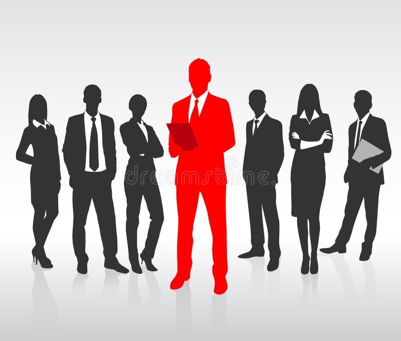 Homem de negócios vermelho Silhouette, executivos pretos ilustração stock