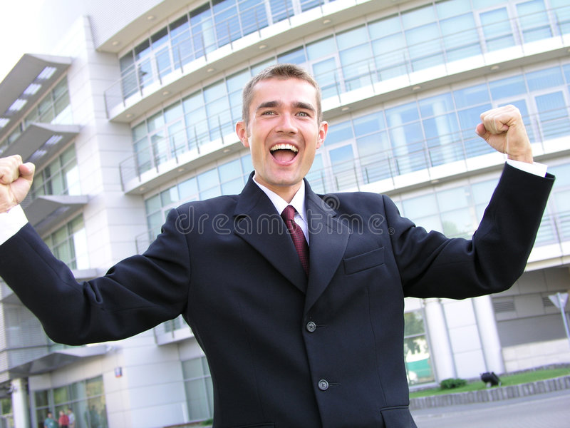 Homem de negócios vitorioso fotografia de stock royalty free