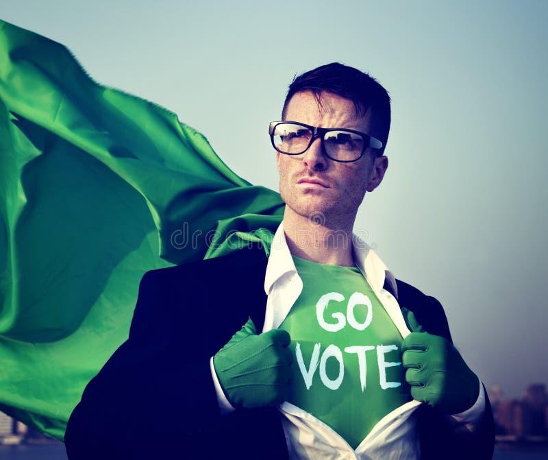 Homem de negócios Vote Power Concept do super-herói fotografia de stock royalty free