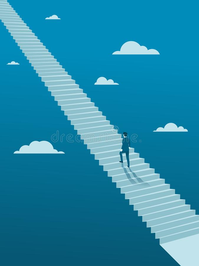 Homem de negócios Walking acima na escada infinita ilustração royalty free