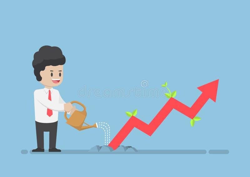 Homem de negócios Watering Business Graph esse crescimento com o Grou ilustração royalty free