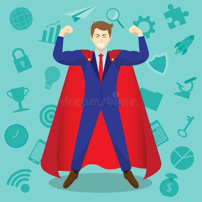Homem de negócios Wearing Red Cloak em Front Of Business Icons ilustração do vetor