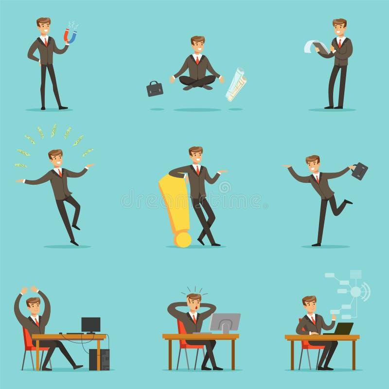 Homem de negócios Work Process Series de cenas relacionadas com o mercado com empresário novo Cartoon Character ilustração do vetor