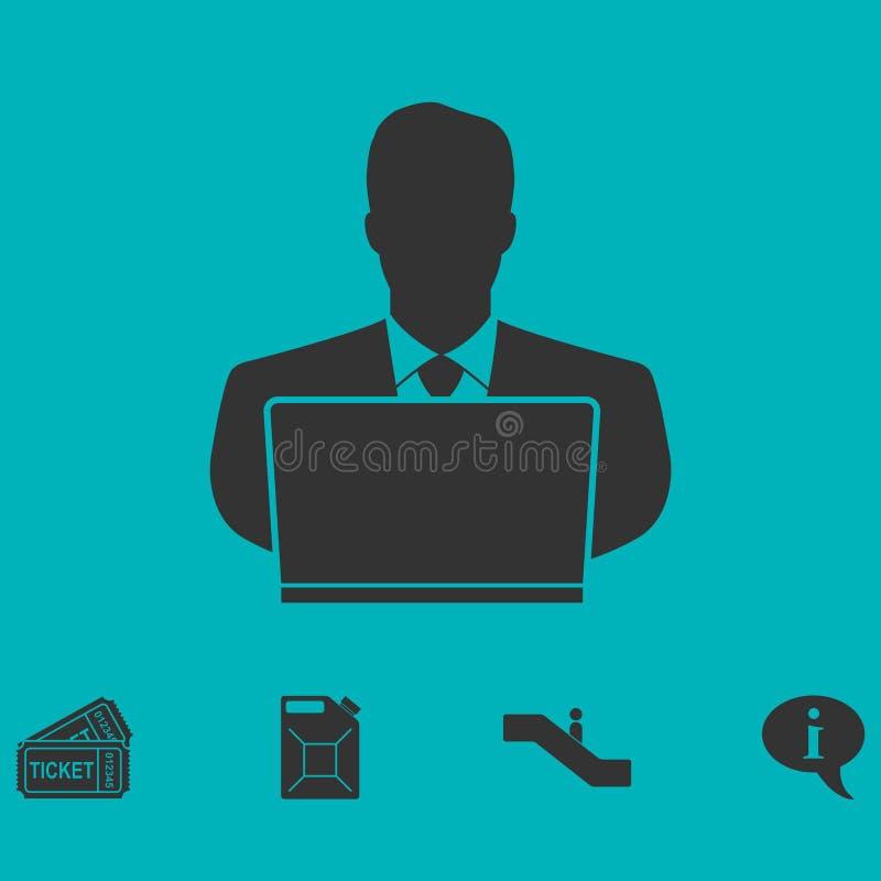 Homem de negócios Working no plano do ícone do computador ilustração royalty free