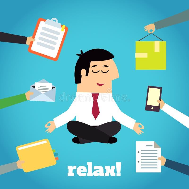 Homem de negócios Yoga Relaxing ilustração royalty free