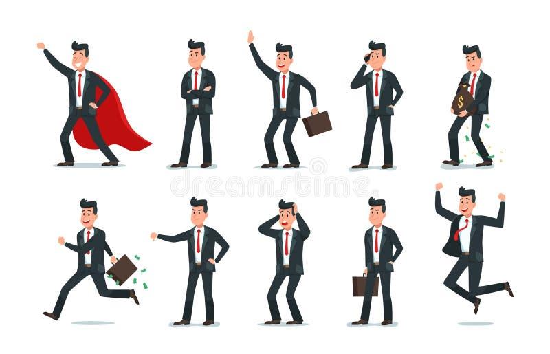 Homem de neg?cios Characters Homem de casos, de trabalho do computador de escritório e de ilustração do vetor do caráter do traba ilustração do vetor