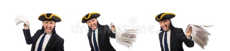 Homem de neg?cios do pirata que guarda pap?is no branco foto de stock