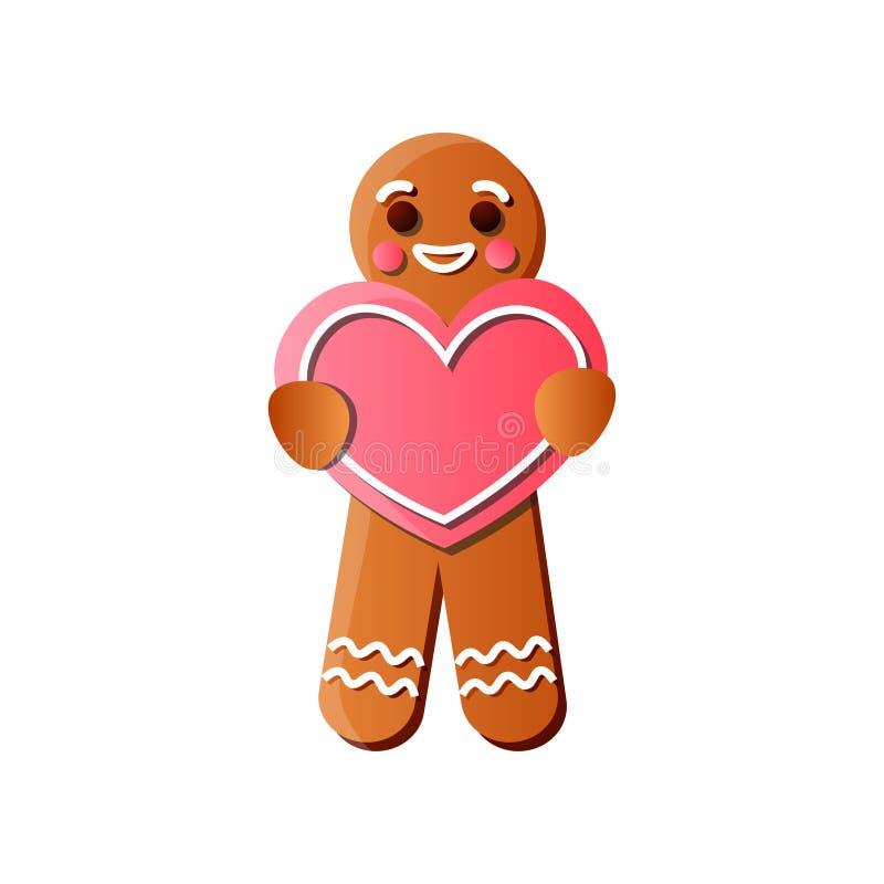 Homem de pão-de-espécie saboroso com coração vermelho, linhas cremosas do leite ilustração stock