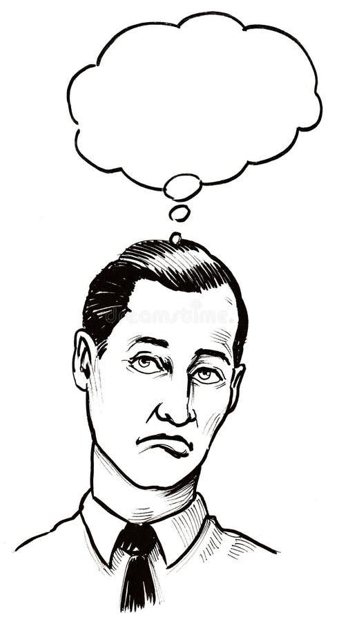 Homem de pensamento ilustração stock