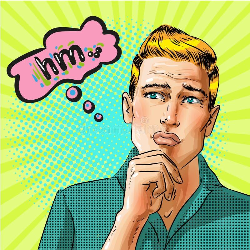 Homem de pensamento do pop art do vetor com bolha do discurso ilustração stock