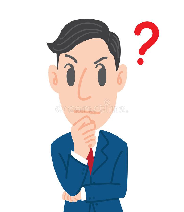 Homem de pensamento, homem de negócios com ilustração do vetor do conceito do ponto de interrogação imagem de stock royalty free